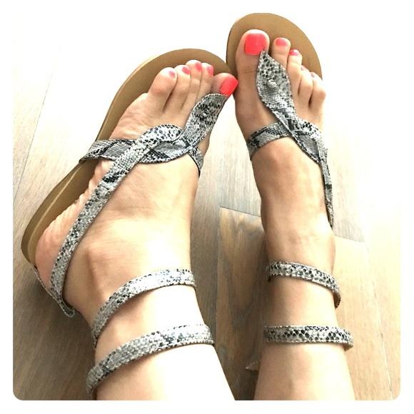 69519183fe0 HTF Grey Snakeskin Strappy Sandals Flats